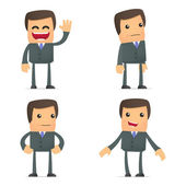 Set of funny cartoon businessman — Stock Vector
