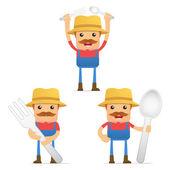 Set of funny cartoon farmer — Stock Vector