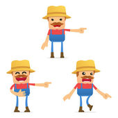 Set of funny cartoon farmer — Stock Vector