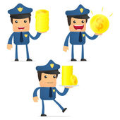 Set of funny cartoon policeman — Stockvektor