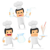 Set of funny cartoon chef — Stock Vector