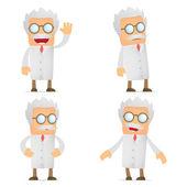 Set of funny cartoon scientist — Stock Vector