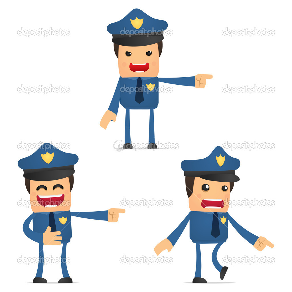 可爱的卡通警察一套
