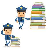 Set of funny cartoon policeman — Stock Vector