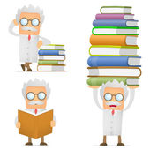 Funny cartoon scientist giving presentation — Stock Vector