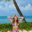 Attractive woman on beautiful sandy beach - Stockfoto