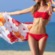 Beautiful blonde in a red bikini at the ocean - Stock Photo