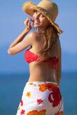 Pretty blonde with attitude in a bikini — Stock Photo