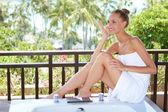 Elegant woman in towel — Stock Photo
