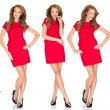 Silhouettes of a sexy blond woman in red dress — Stock Photo