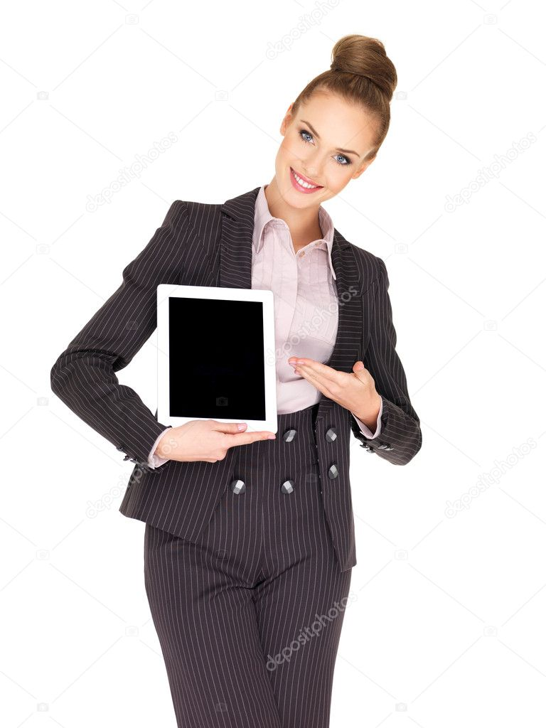 Young business woman showing tablet screen — Stock Photo #8624131