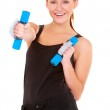 Fitness woman working out with dumbbells — Stock Photo #8900957