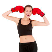 Beautiful sporty woman with boxing gloves — Foto de Stock