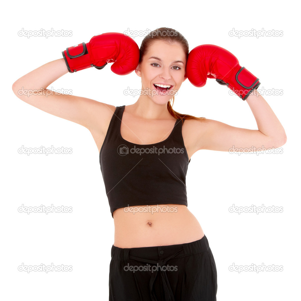 Beautiful sporty woman with boxing gloves on white — Stock Photo #8900972