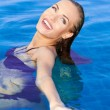 Beautiful WomRelaxing In Pool — Stock Photo #9948466