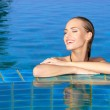 Smiling Woman Reflected In Pool — Stock Photo #9948495