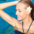 Cutie in the swiming pool - Stock Photo
