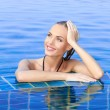 Smiling Woman Reflected In Pool — Stock Photo #9948544