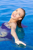 Beautiful Woman Relaxing In Pool — Stock Photo