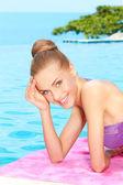 Taking sunbath in bikini — Stock Photo