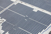 Top view on large solar panels — Stock Photo