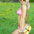 Beautiful young blond woman at bathing suit — Stock Photo