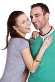 Closeup of happy couple at home — Stock Photo