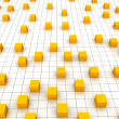 Orange cubes and grid — Stock Photo
