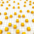 Stock Photo: Orange cubes and grid