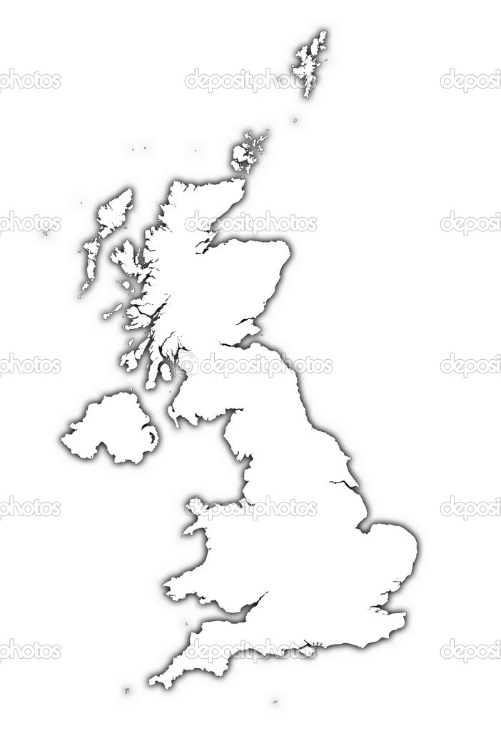 Meeth United Kingdom  City pictures : United Kingdom outline map with shadow — Stock Photo © skvoor ...