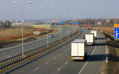 Trucks on the highway A1 in Poland — Stock Photo
