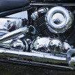 Chromed motorcycle engine close-up — Stock Photo #10560847