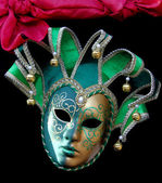 Green Carnival Jester mask with bells — Stock Photo