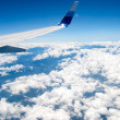 Airplane fly above land — Stock Photo