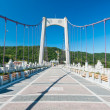 Brick footbridge to green hill — Stock Photo