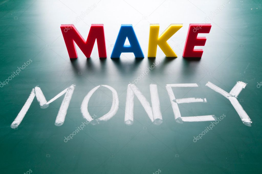 Make money concept, message words on blackboard — Stock Photo #8963527