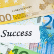 Success on finance concept with euro notes — Stockfoto