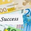 succès sur le concept de finance avec des billets en euros — Photo