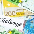 Challenge on financial concept with euro notes - Stock Photo