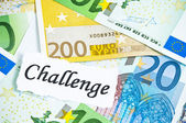 Challenge on financial concept with euro notes — Stock Photo