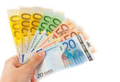 Euro notes in hand — Stock Photo