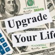 Upgrade your life, words and calculator - Stock Photo