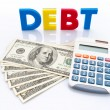 Debt words, American banknotes and calculator — Stock Photo