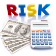 Stock Photo: Risk words, Americbanknotes and calculator