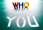 Who are you, concept words on blackboard. — Stock Photo
