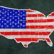 America map with flag draw on grunge blackboard — Stock Photo