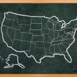 America map draw on grunge blackboard — Стоковое фото #9432763