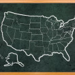 America map draw on grunge blackboard - Stock Photo