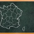 France map draw on retro blackboard — Foto Stock