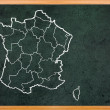France map draw on retro blackboard — 图库照片